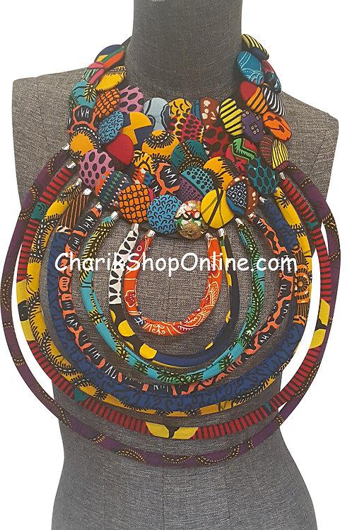 Ankara Print African Bib Necklace #11