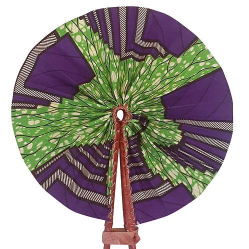 African Folding Hand Fan Purple Beam Quality Fabri