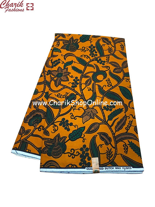 African Wax Print  6 yards/ Ankara fabric/ Orange Trees ankara/