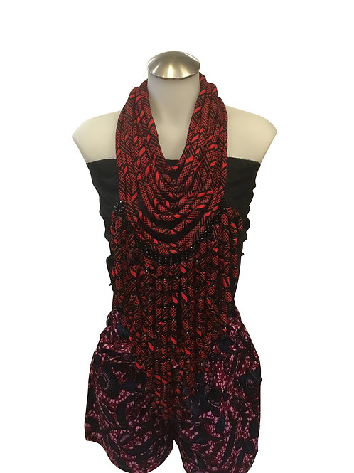 Maroon Black Bead African Print Fabric Long Necklace