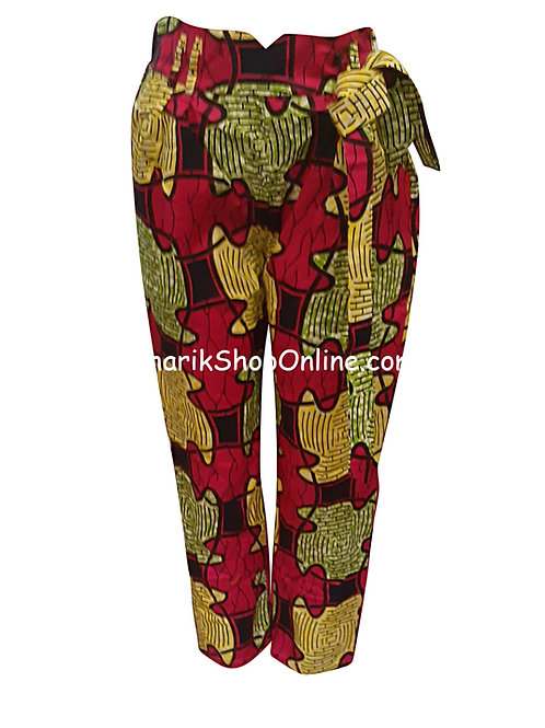 African Magenta Puzzle V-Cut Ankara print pants with belt