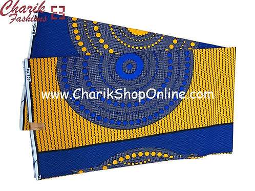 African Wax Print  6 yards/ Ankara fabric/ Blue Circle Beads ankara/