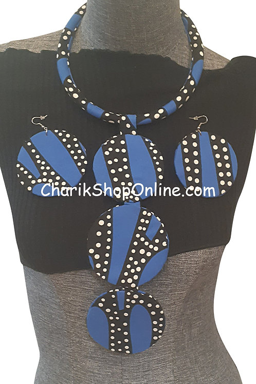 Ankara Print Blue Tribal Necklace with Matching Earrings