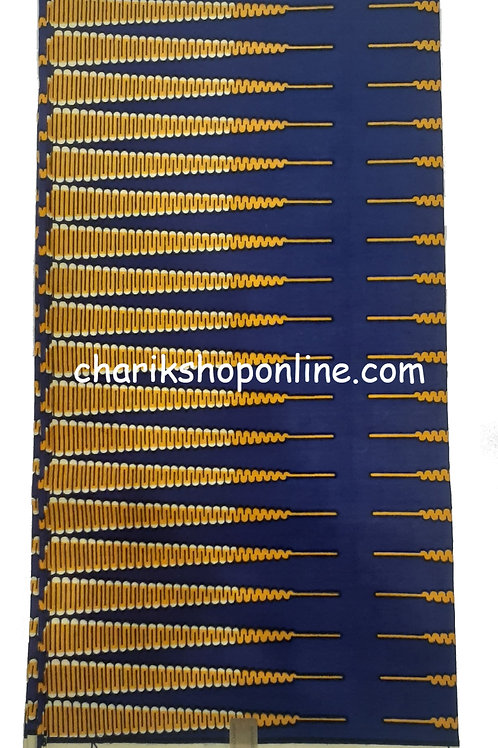 African Wax Print 6 yards/ Ankara fabric/ Blue Gold Arrow ankara/