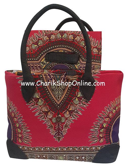 Ankara purse/ dashiki handbag reversible denim/ Ankara bag Magenta