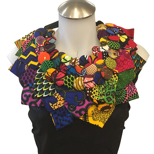 African Print Fabric Button Leaves Bib Necklace #6