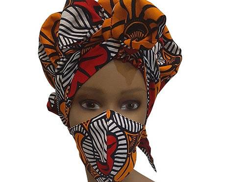 African print adult sized satin Orange Red Bonnet with mask
