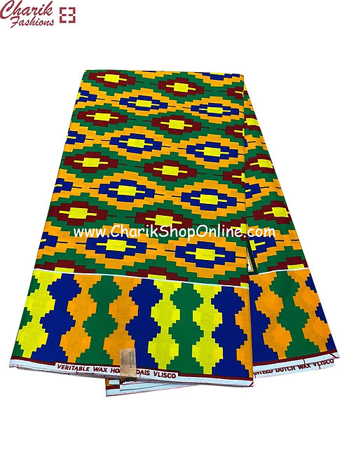 African Wax Print  6 yards/ Ankara fabric/ Blue Green Yellow ankara/