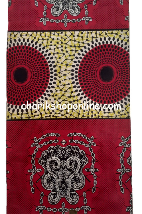 African Wax Print 6 yards/ Ankara fabric/ Red Stargate ankara/