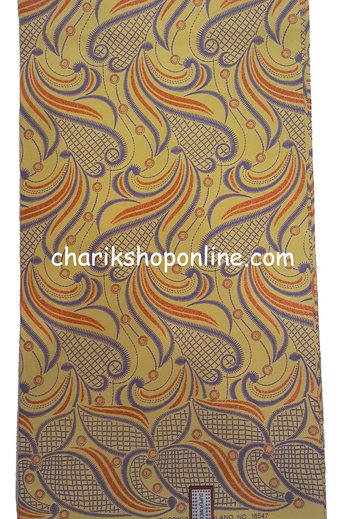 African Wax Print 6 yards/ Ankara fabric/ Raised Purple Gold ankara/