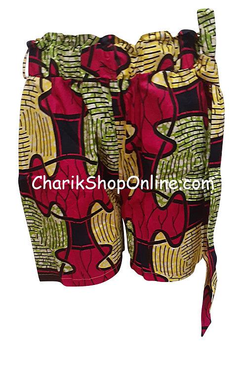 African Ankara print shorts with belt Magenta Puzzle