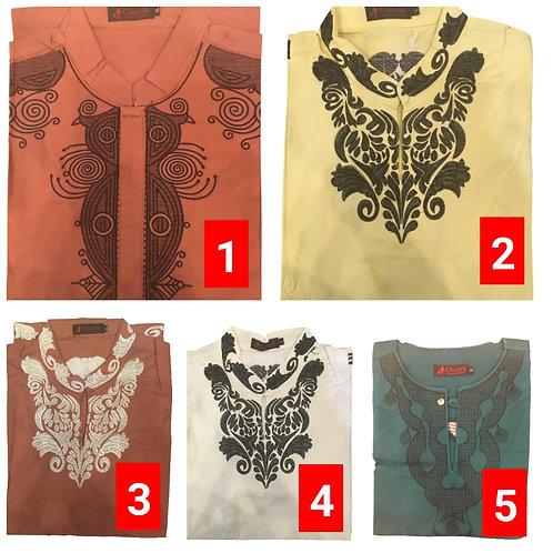 3 African embroidered dashiki men's shirt Size Large Set #5