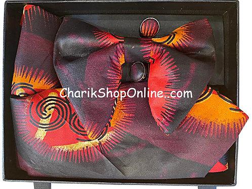 Ankara Purple Sunset Classic Bow Tie - handkerchief - cuff lin