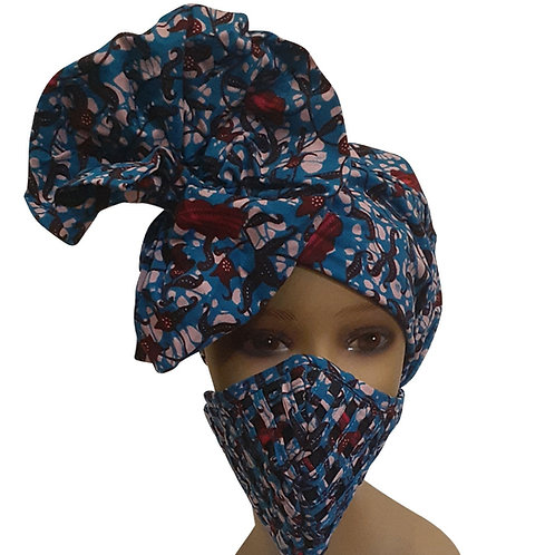 African print adult sized satin Blue Bonnet With Mask