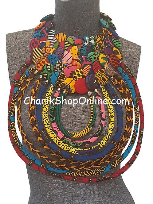 Ankara Print African Bib Necklace #5