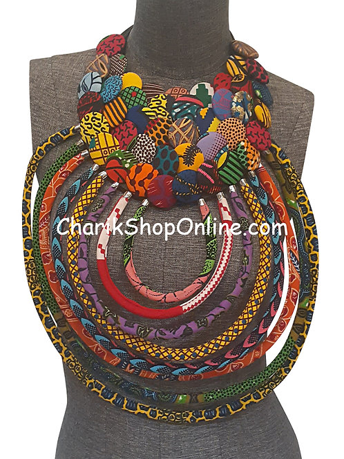 Ankara Print African Bib Necklace #10