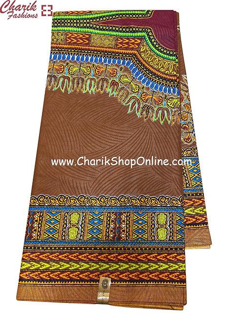 African Wax Print  6 yards/ Ankara fabric/ Brown Dashiki Angelina ankara/