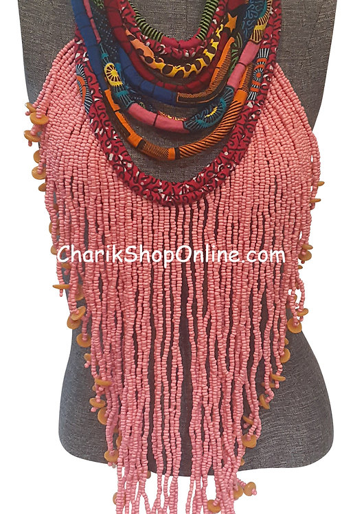 Ankara Print Full Length Beaded Statement Necklace Pink Beads