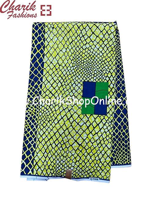 African Wax Print  6 yards/ Ankara fabric/ Green Scales ankara/