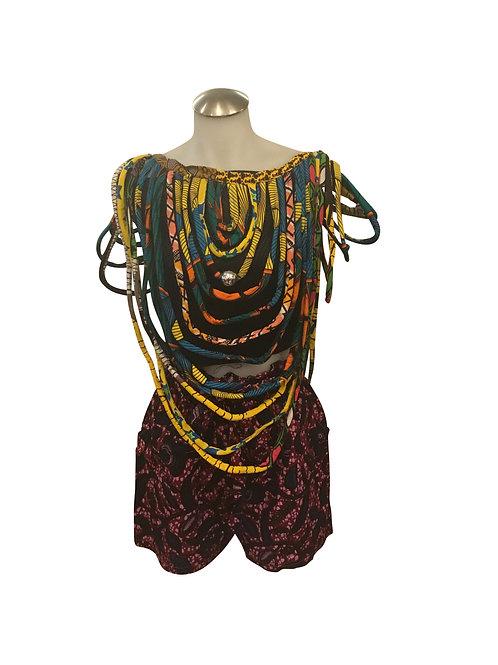 Ankara Print Medium Length Over Shoulder Bib Necklace Multicolor