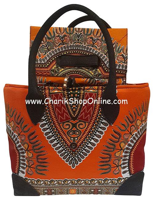 Ankara purse/ dashiki handbag reversible denim/ Ankara bag Orange