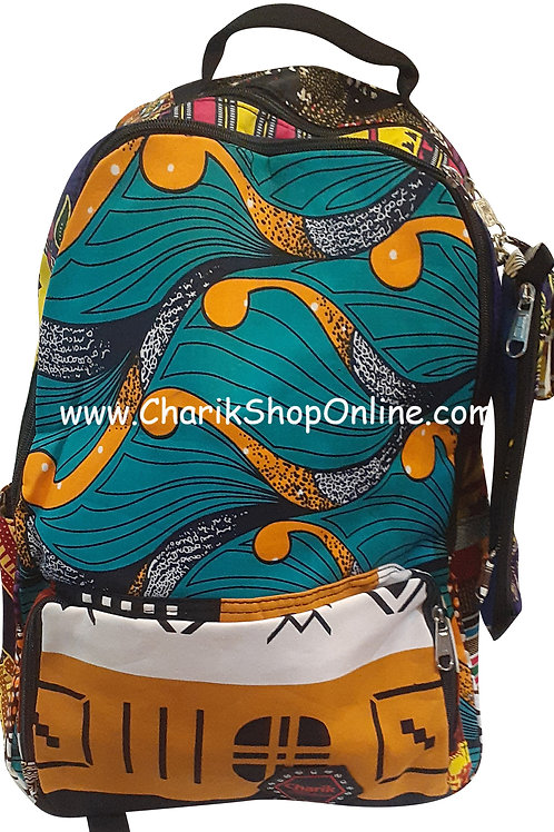 Ankara Print African Print Backpack Turquoise Orange