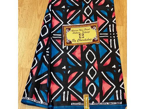 African Wax Print 6 yards/ Ankara fabric/ Blue Pink ankara/