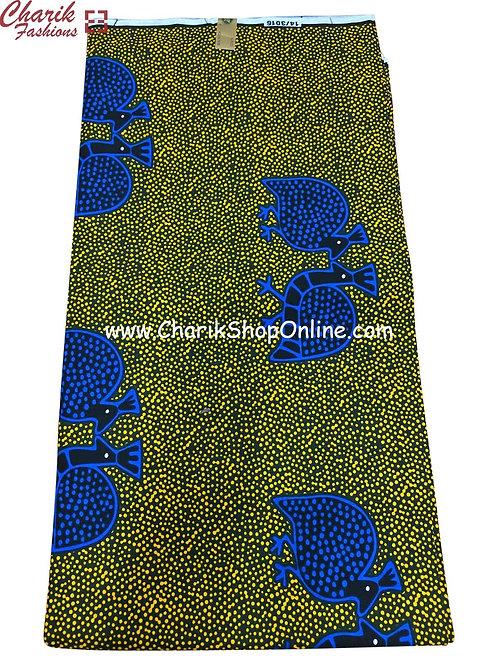 African Wax Print  6 yards/ Ankara fabric/ Blue Animal ankara/