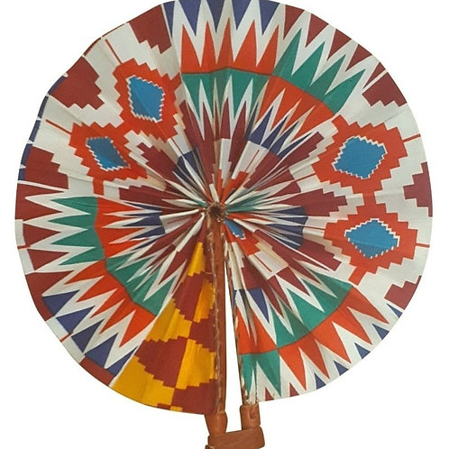 African Folding Hand Fan Orange Turquoise Quality Fabric