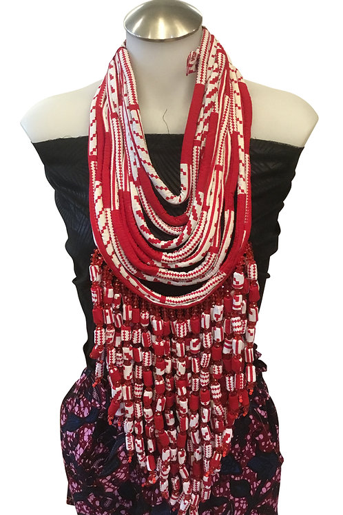 Red White African Print Fabric Long Necklace