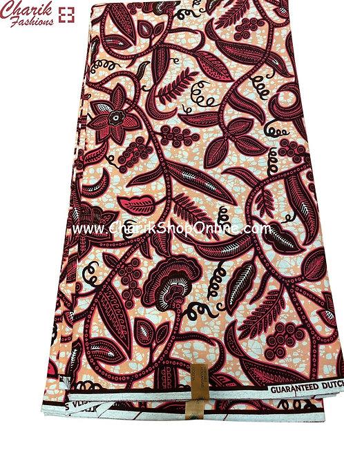African Wax Print  6 yards/ Ankara fabric/ Magenta Fruit ankara/