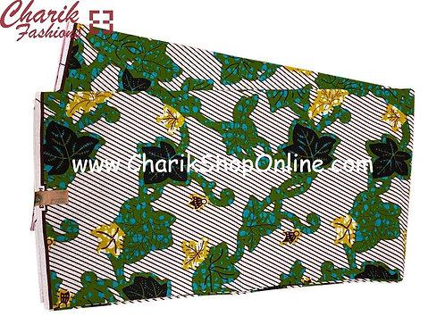African Wax Print  6 yards/ Ankara fabric/ Stripe Leaf ankara/