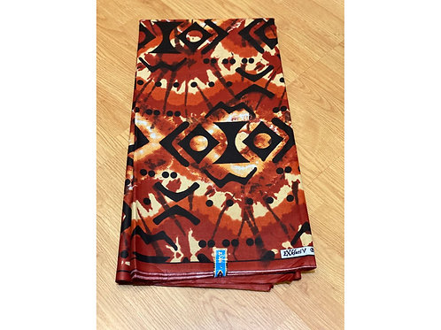 African Wax Print 6 yards/ Ankara fabric/ Burnt Orange Ensign ankara/