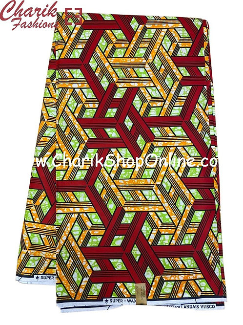 African Wax Print  6 yards/ Ankara fabric/ Maroon Orange Blocks ankara/