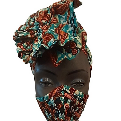 African print adult sized satin Teal Orange Bonnet