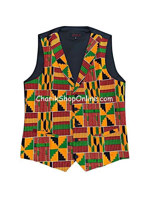 African Print men suit vest RG Kente