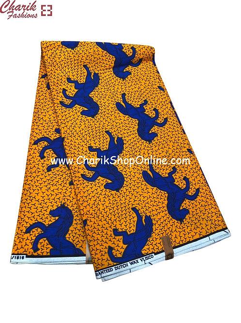 African Wax Print  6 yards/ Ankara fabric/ Blue horse ankara/