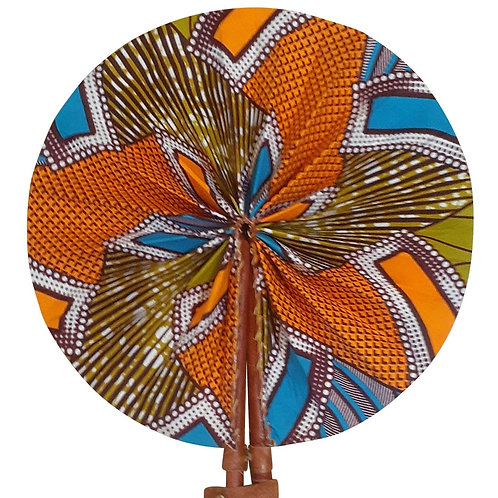 African Folding Hand Fan Orange Gold Bloom Quality Fabri
