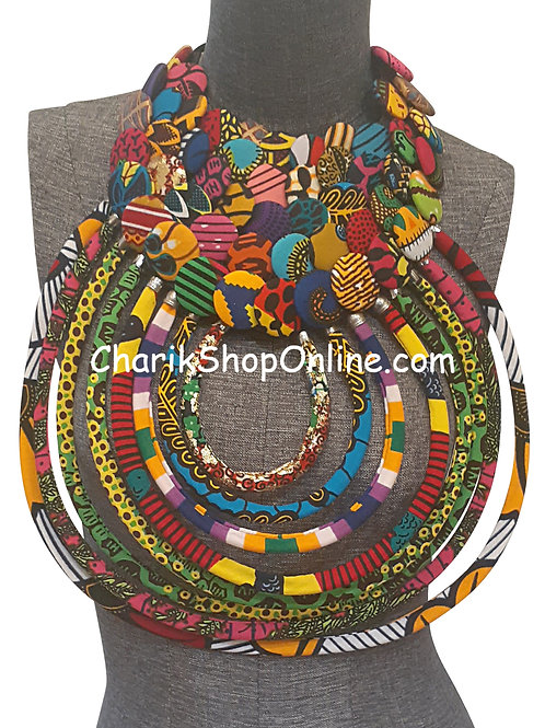 Ankara Print African Bib Necklace #9