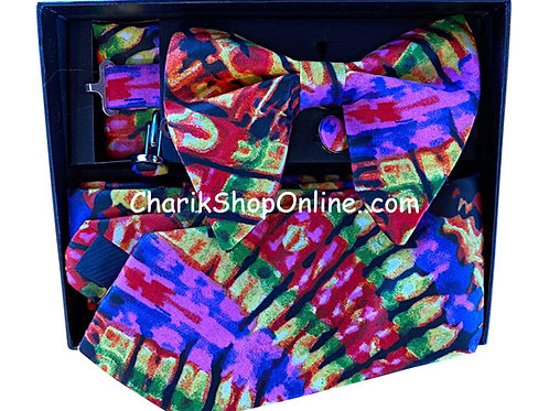 Ankara Purple Tie Dye Print Classic Bow Tie - handkerchief - cuff link