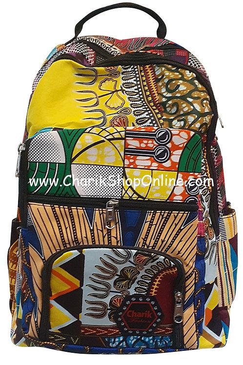 Ankara Print African Print Backpack Yellow Fork