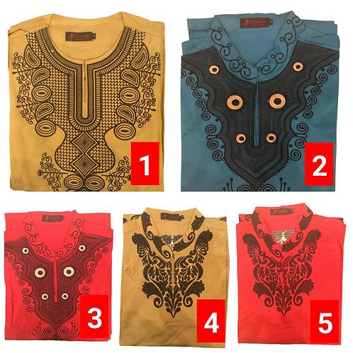 5 African embroidered dashiki men's shirt Size Large Set #4