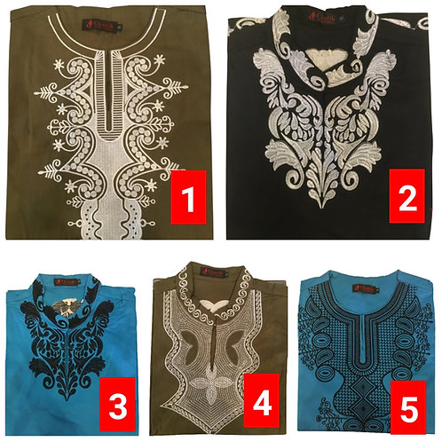 1 African embroidered dashiki men's shirt Size Medium Set #5