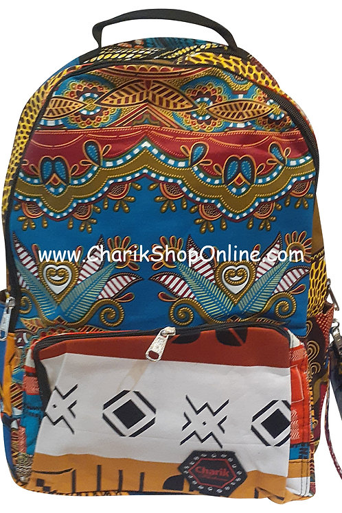 Ankara Print African Print Backpack Black Diamond
