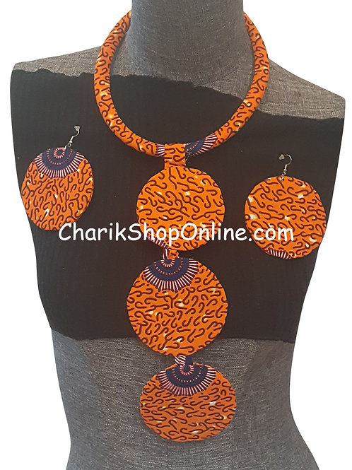 Ankara Print Orange Tribal Necklace with Matching Earrings