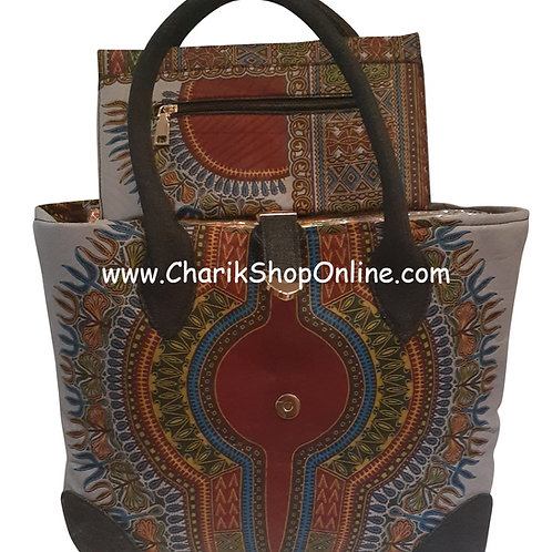 Ankara purse/ dashiki handbag reversible denim/ Ankara bag Lavender