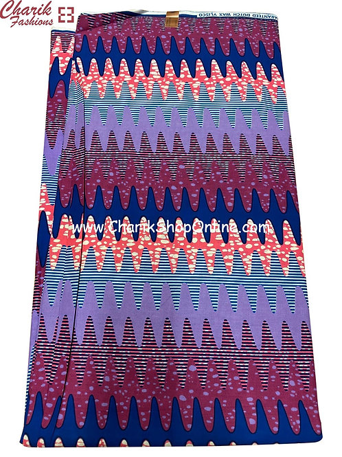 African Wax Print  6 yards/ Ankara fabric/ Purple Rain ankara/