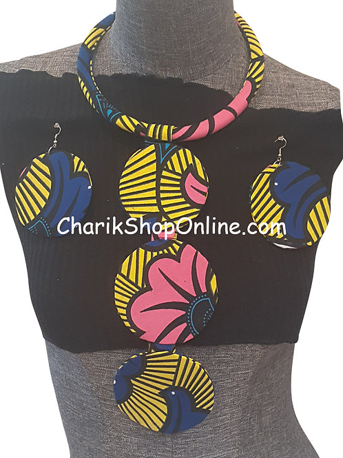Ankara Print Blue Yellow Tribal Necklace with Matching Earrings