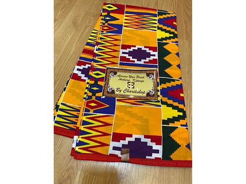 African Wax Print 6 yards/ Ankara fabric/ Yellow Kente ankara/