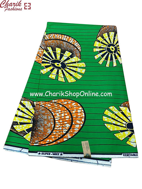 African Wax Print  6 yards/ Ankara fabric/ Green expansion ankara/